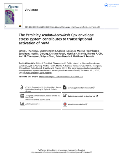 The Yersinia pseudotuberculosis Cpx envelope stress system