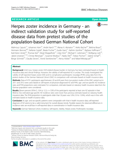 Herpes zoster incidence in Germany - an indirect validation study